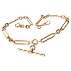 Edwardian 9 Carat Rose Gold Albert or Necklace Chain with T-Bar