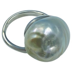 Sterling Silver Baroque South Sea Pearl Adjustable Solitaire Ring