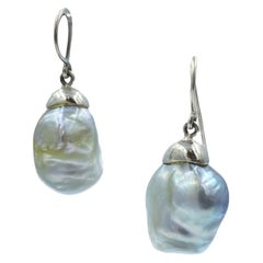 Sterling Silver Large Baroque South Sea Pearl Drop Earring