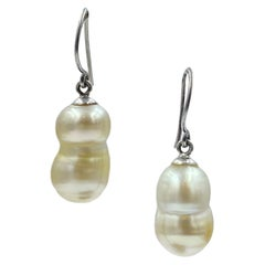Sterling Silver Large Champagne Baroque South Sea Pearl Drop Earring