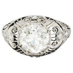 1910 Edwardian 2.45 Carats Old European Diamond Platinum Bombe Engagement Ring