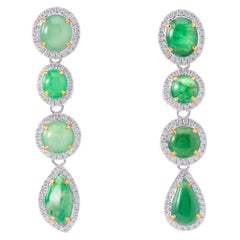 Fei Liu Imperial Green Jade Diamond 18 Karat White Gold Asymmetric Long Earrings