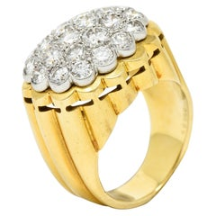 Van Cleef & Arpels 1970's 2.65 Carats Pave Diamond Platinum 18 Karat Gold Ring