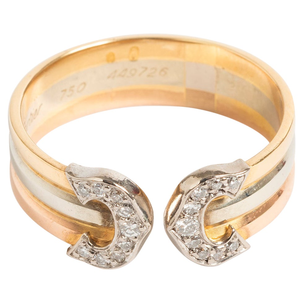 Classic Cartier Diamond Double 'C' Ring, 18K Tri-Colour Gold