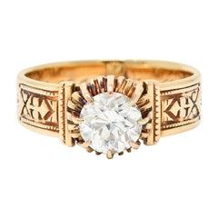 1904 Victorian 0.93 Carat Diamond 14 Karat Gold Engagement Ring GIA