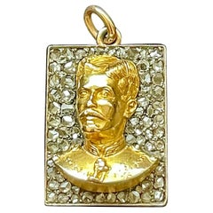 Antique Diamond and Gold Bust of Military General Portuguese Necklace Pendant