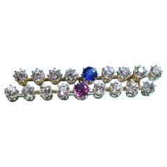 """La Belle Époque"" Diamonds '4 Carats', Ruby and Sapphire Barrete Brooch"