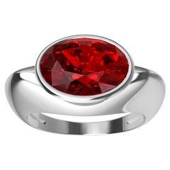 18 Karat White Gold Pigeon Blood Ruby Sculpture Ring