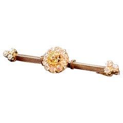 Art Nouveau Fancy Yellow Diamond Yellow Gold French Barrete Brooch