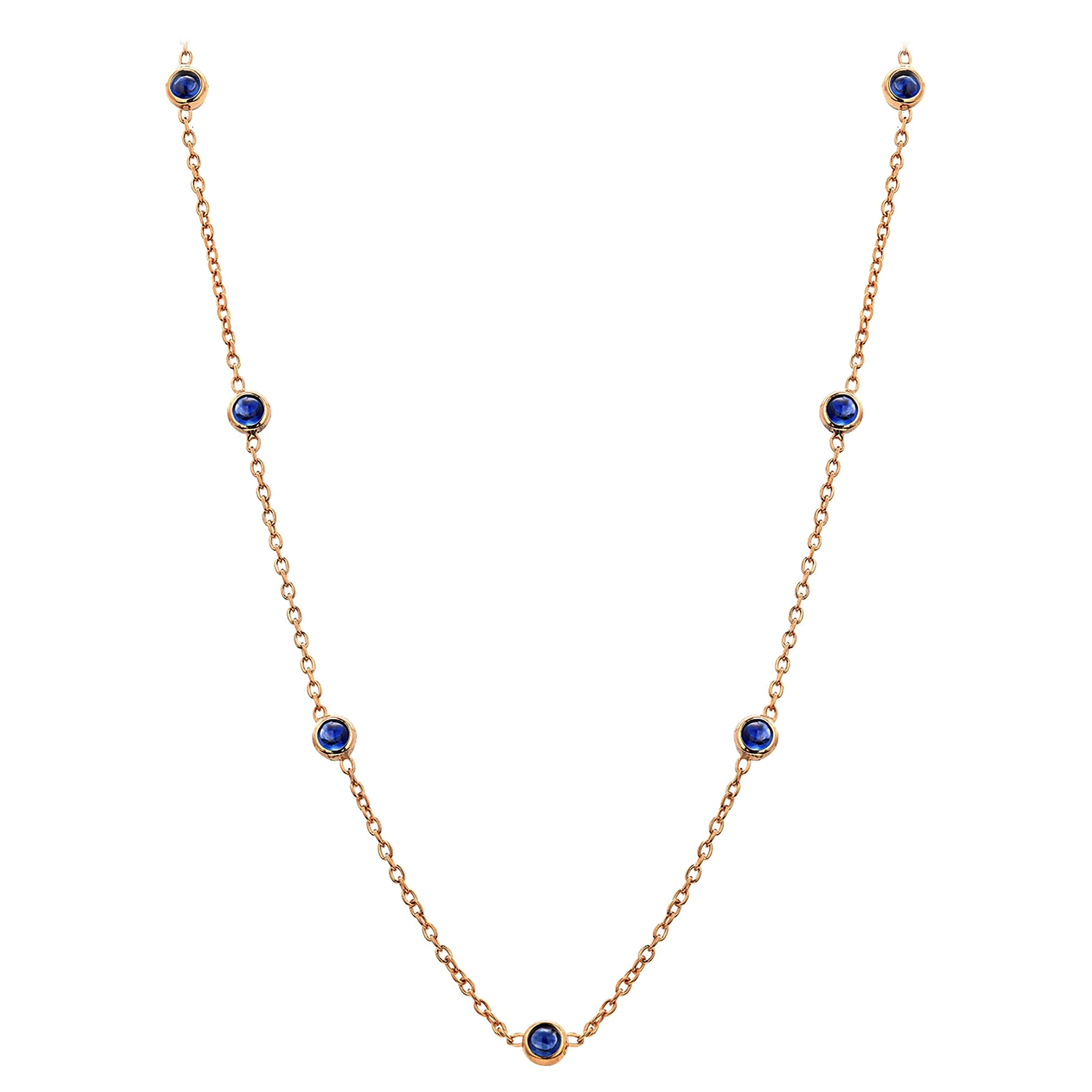 Seven Natural Cabochon Sapphires Bezel Necklace Silver Yellow Gold-Plated