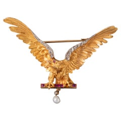 Antique Gold Diamonds and Rubies French Eagle Brooch