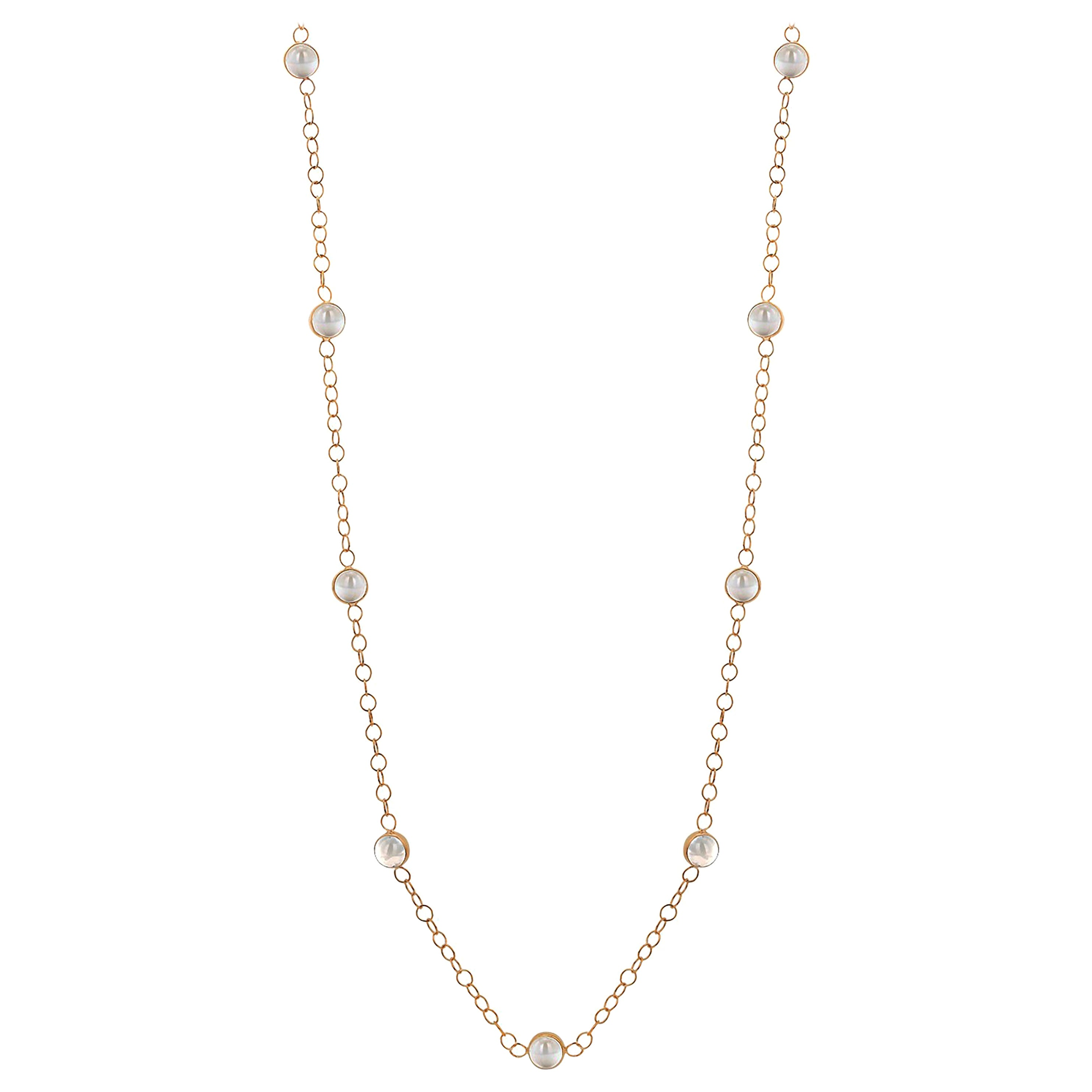 Ten Natural White Moonstones Bezel Necklace Silver Gold-Plated