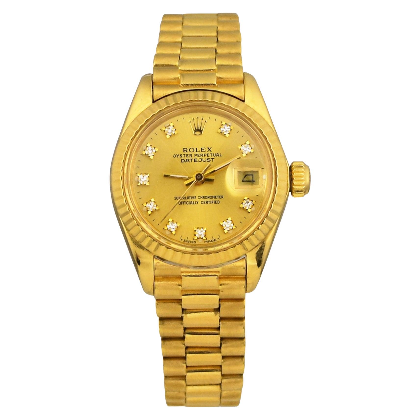 Rolex Lady-Datejust 28 President Band 18k Yellow Gold