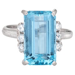 6ct Aquamarine Diamond Ring Vintage Gemstone Engagement Platinum