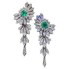 Art Deco Style Emeralds and Diamonds 8 Carat Double Earrings