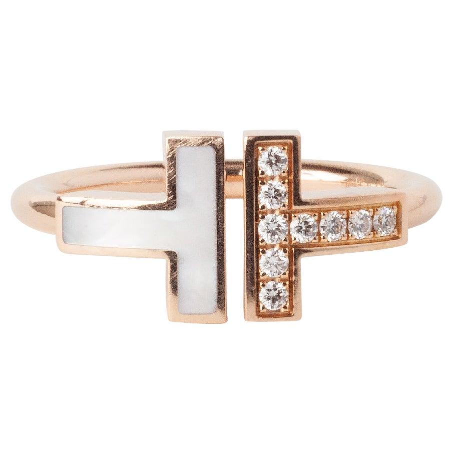 Tiffany & Co Tiffany T Rose Gold 0.10ct Round Diamond Wrap Ring