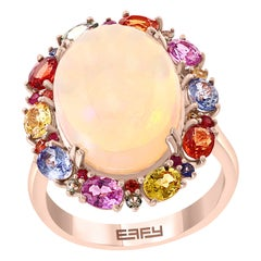 Effy 14 Karat Rose Gold Opal and Multicolor Sapphire Ring