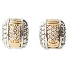 Lagos Gold & Silver 0.44ct Round Diamond Huggie Earrings