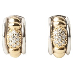 Lagos Caviar Gold & Silver 0.40ct Round Diamond Hoop Earrings