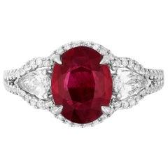 Andreoli 2.21 Carat Burma Ruby Diamond 18 Karat White Gold Ring CDC Certified