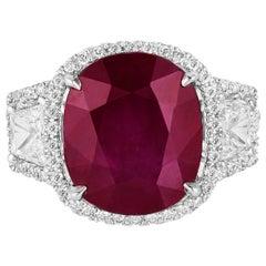 Andreoli 7.37 Carat Burma Ruby Diamond 18 Karat White Gold Ring CDC Certified