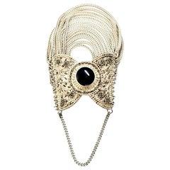 Sterling Silver Multi Strand Onyx and Marcasite Bracelet 'B'