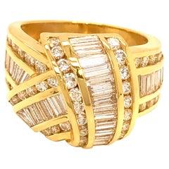Charles Krypell 18 Kt Yellow Gold Diamond Ring