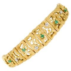 18k Gold 0.46ct Diamond Emerald Open Textured Graduated Strap Statement Bracelet