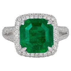 Andreoli 4.17 Carat Emerald Diamond 18 Karat White Gold Ring CDC Certified