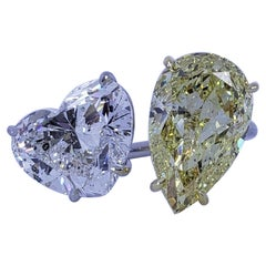 David Rosenberg 5.02ct Heart Shape 5.74ct Pear Shape by Pass GIA Diamond Ring