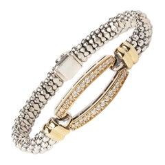 Lagos Circle Gold & Silver 0.91ct Round Diamond Bangle Bracelet