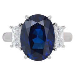 Andreoli 7.74 Carat Sapphire Diamond Platinum Ring GIA Certified