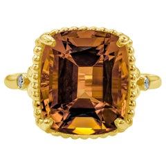 Tiffany & Co. 6.50 Carat Cushion Cut Citrine and Diamond Cocktail Ring