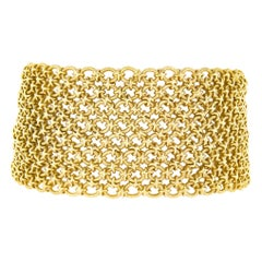 Bvlgari Vintage 18k Yellow Gold Textured Braided Wide Mesh Link Chain Bracelet