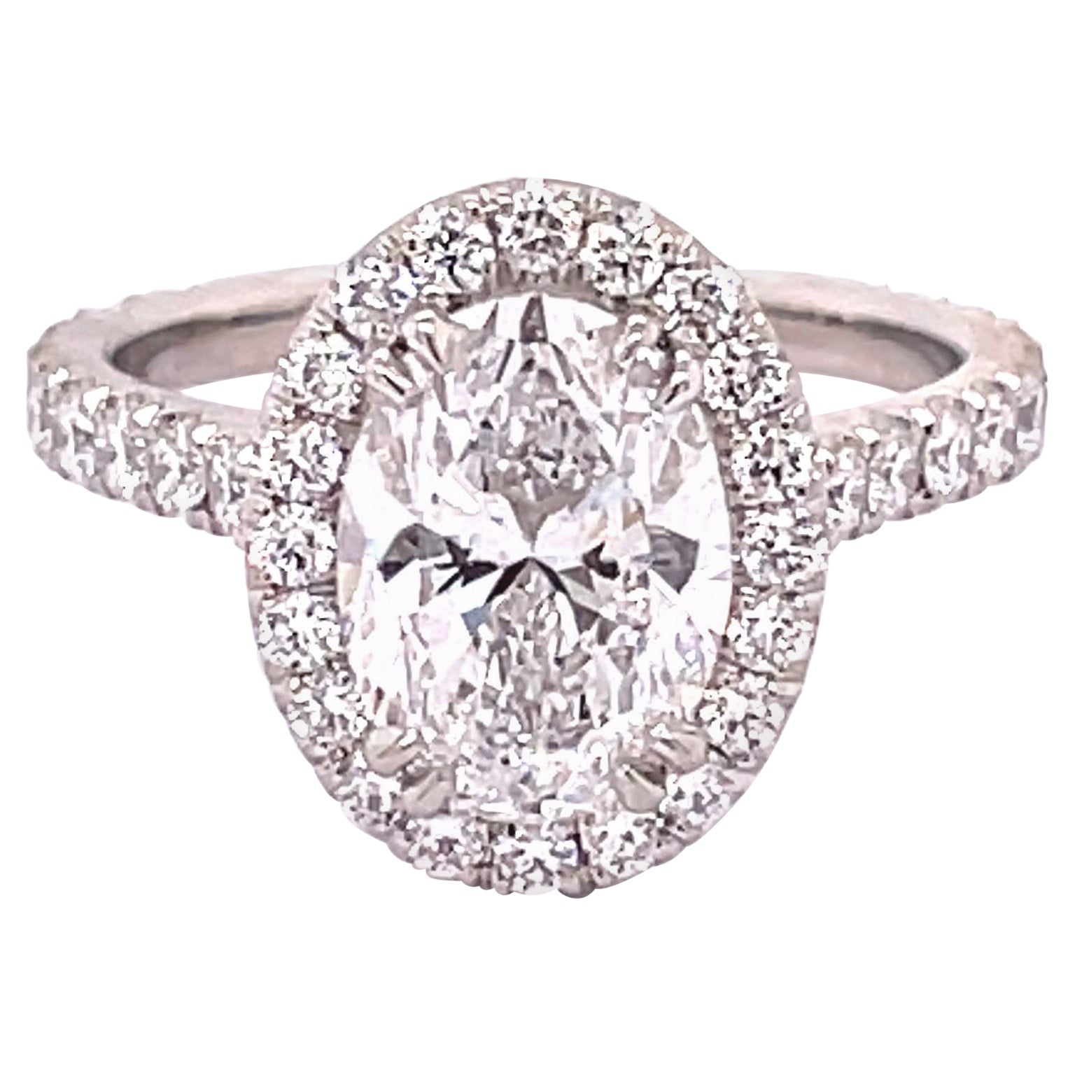 GIA Certified 2.20 Carat Oval Diamond Engagement Ring