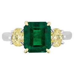 Andreoli 2.96 Carat Zambian Emerald Yellow Diamond Platinum Ring CDC Certified