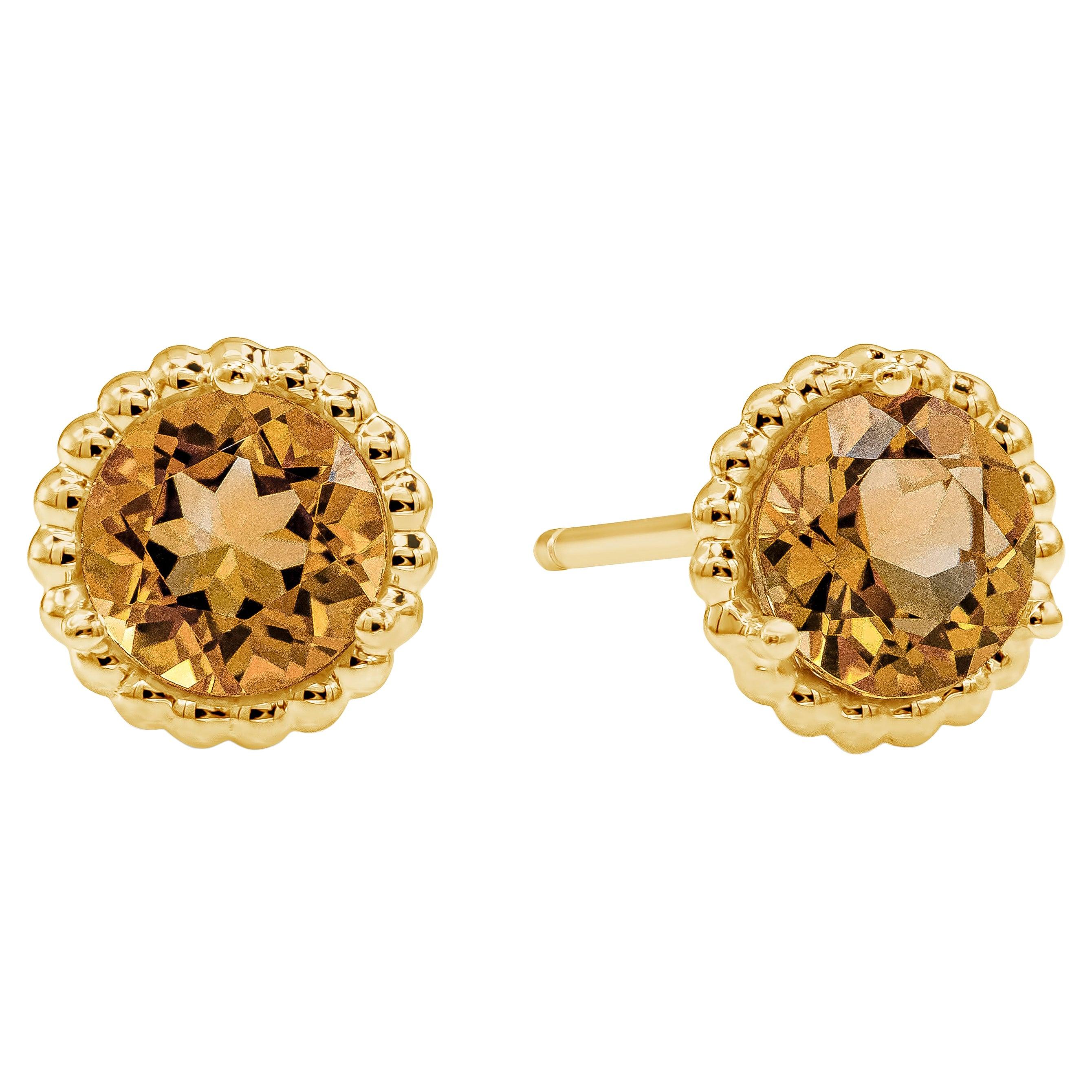 Tiffany & Co. Orange Citrine Beaded Stud Earrings in 18k Yellow Gold