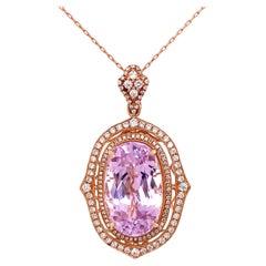 21.20 Carat Kunzite and Diamond Rose Gold Pendant Necklace Estate Fine Jewelry