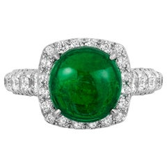 Andreoli 3.50 Carat Emerald Diamond 18 Karat White Gold Ring CDC Certified