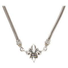 Lagos Fleur de Lis Gold & Silver Round Cut Sapphire Pendant Necklace