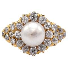 Antique 18 Karat Yellow Gold Old Mine Cut Diamond & Pearl Cluster Ring