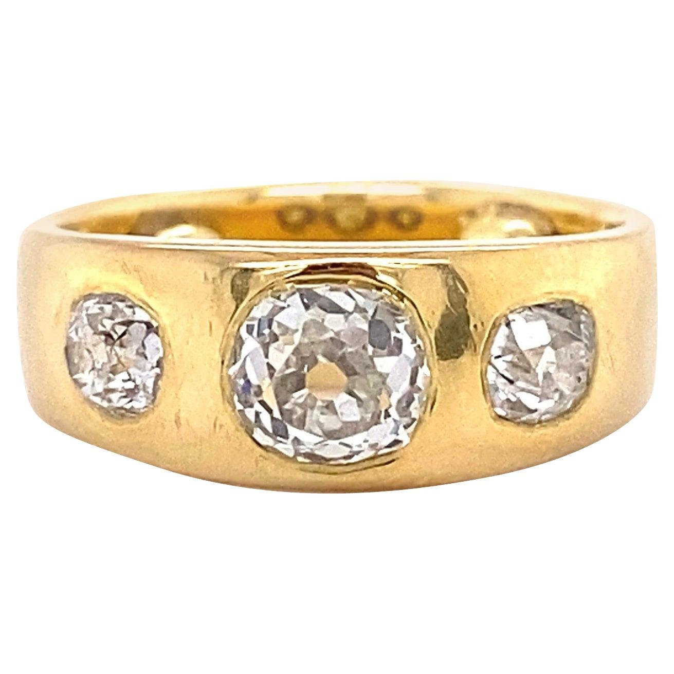Victorian 3-Stone Old Mine Diamond Gold Ring Estate Fine Jewelry