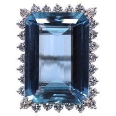 36 Carat Aquamarine Diamond Platinum Cocktail Ring