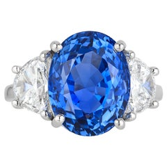 Andreoli 11.46 Carat No Heat Ceylon Sapphire Diamond Platinum Ring CDC Certified