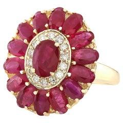 4.42 Carat Ruby Diamond Ring 14 Karat Yellow Gold