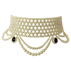 Marina J Woven Pearl Choker with Pearl Drapes, Garnet Briolettes and 14 K Gold