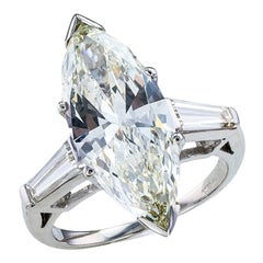 GIA Report Certified 4.63 Carat Marquise Diamond Platinum Engagement Ring