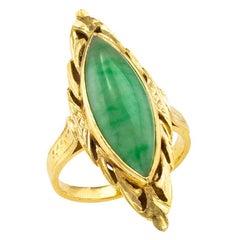 Green Jadeite 21 Karat Yellow Gold Ring