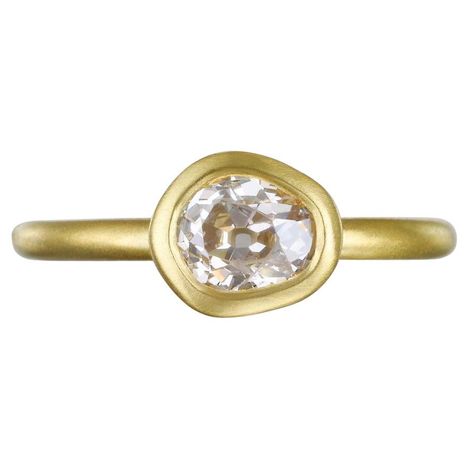 Faye Kim 18k Gold Old European Cut Freeform Diamond Ring