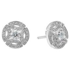 GIA Certified Round Diamond Galanterie de Cartier Stud Earrings